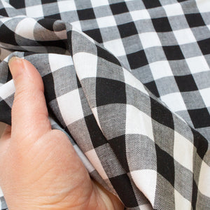 Cotton Gingham in Black and White 2 cm Check