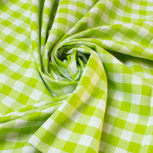 Load image into Gallery viewer, Cotton Gingham in Lime Green and White 2 cm Check