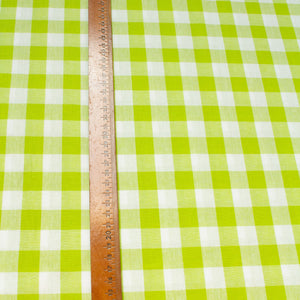 Cotton Gingham in Lime Green and White 2 cm Check