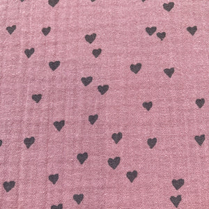 Cotton Double Gauze in Dusky Rose Pink With Grey Hearts