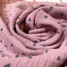 Load image into Gallery viewer, Cotton Double Gauze in Dusky Rose Pink With Grey Hearts