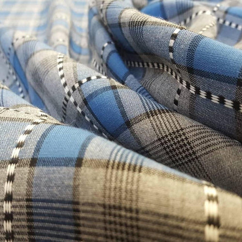 Vintage Viscose Type Fabric with Blue and Grey Check