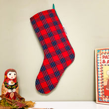 Load image into Gallery viewer, Christmas Stocking Red Tartan Check (green back)