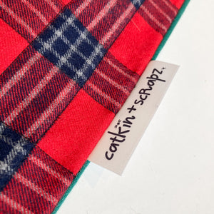 Christmas Stocking Red Tartan Check (green back)