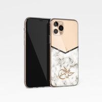 Marble with Personalised Arabic Name Clear Phone Case - White