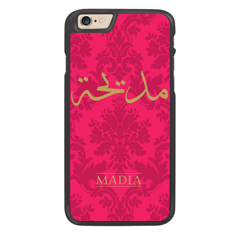 Pink / Gold Damask Personalized Arabic Calligraphy Text Designer Phone Case - Zing Cases