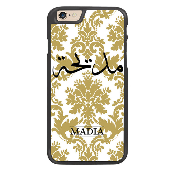White / Gold Damask Personalized Arabic Calligraphy Text Designer Phone Case - Zing Cases
