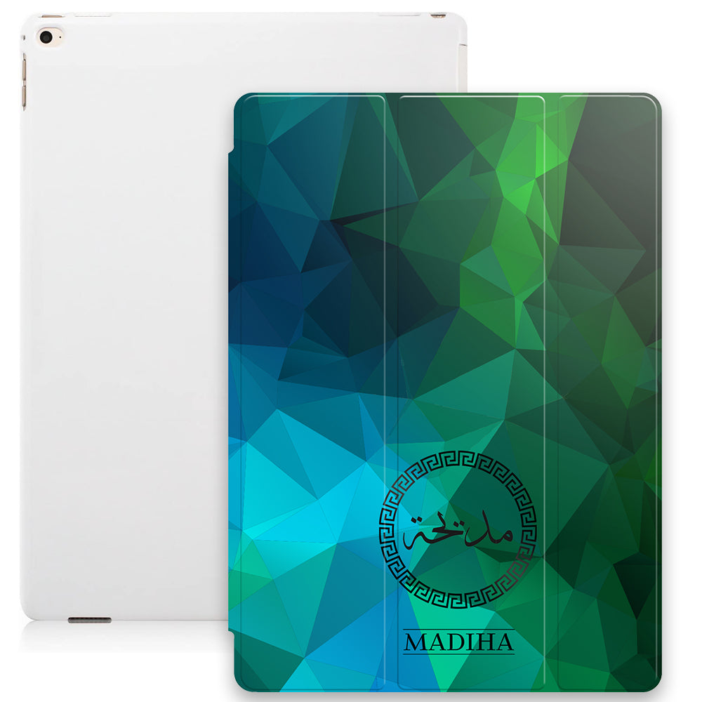 Geometric Print with Personalised Arabic Name Smart Case - Green