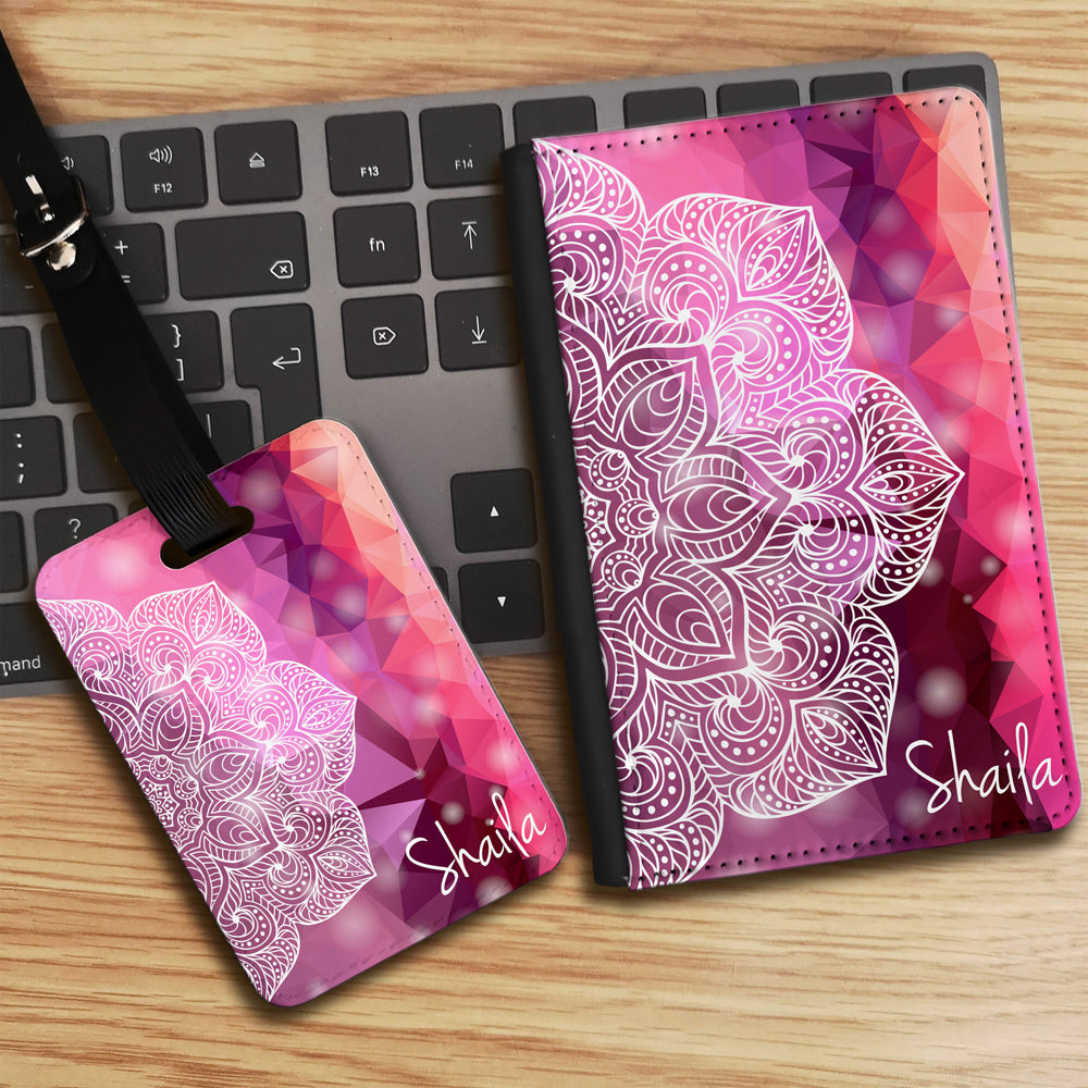 Geometric Half Mandala with Personalised Name Luggage tag and Passport Cover Set - Pink