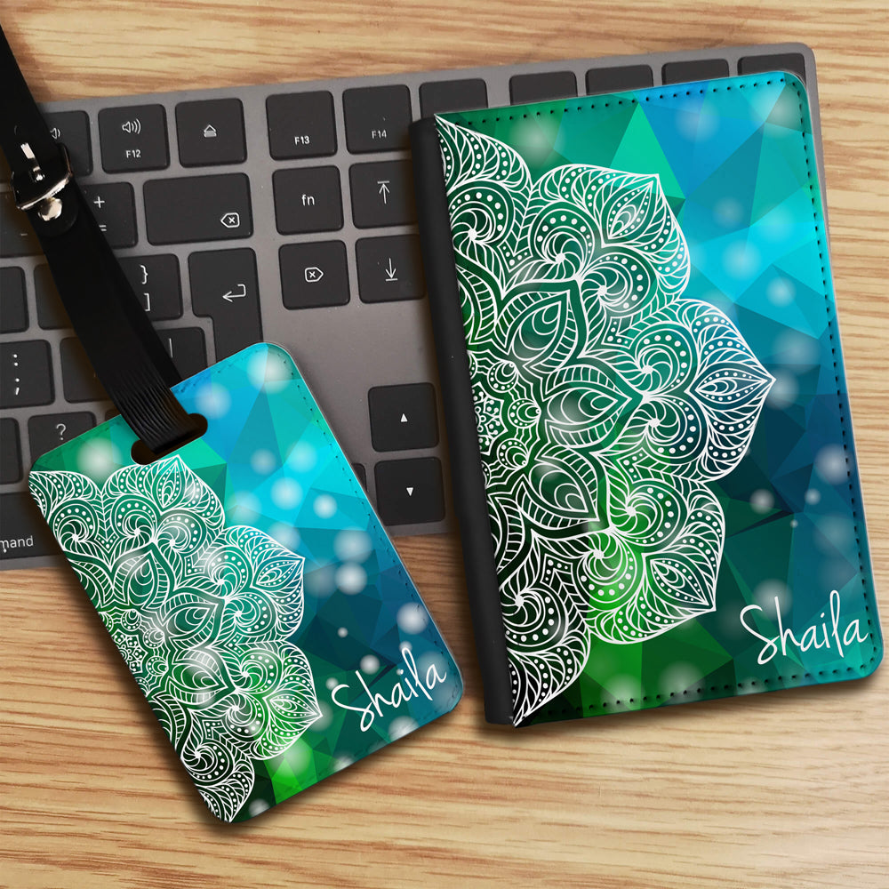 Geometric Half Mandala with Personalised Name Luggage tag and Passport Cover Set - Green