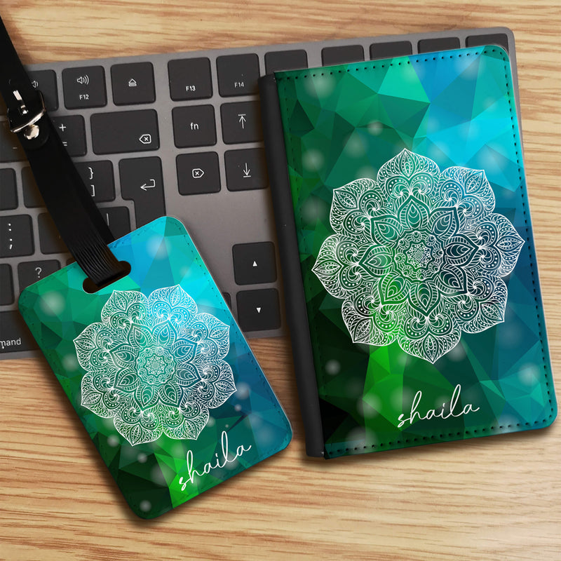 Geometric Mandala with Personalised Name Luggage tag and Passport Cover Set - Green