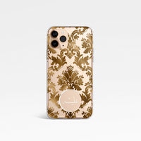 Damask with Personalised Arabic Name Clear Phone Case - Gold