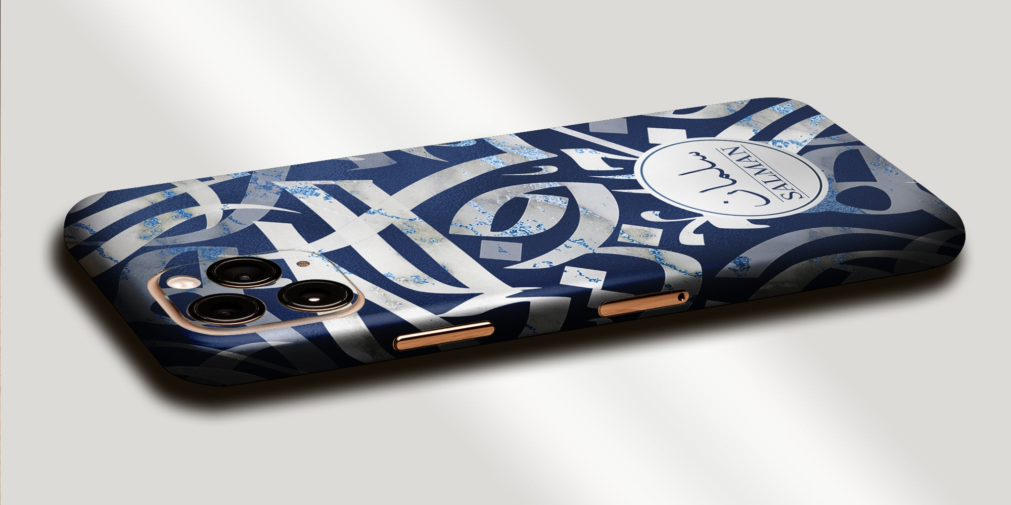 Arabic Calligraphy by Asad Decal Skin With Personalised Arabic Name Phone Wrap  - Blue