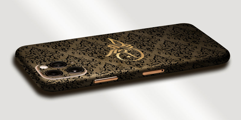 Damask Design Decal Skin With Personalised Arabic Name Phone Wrap - Gold / Black