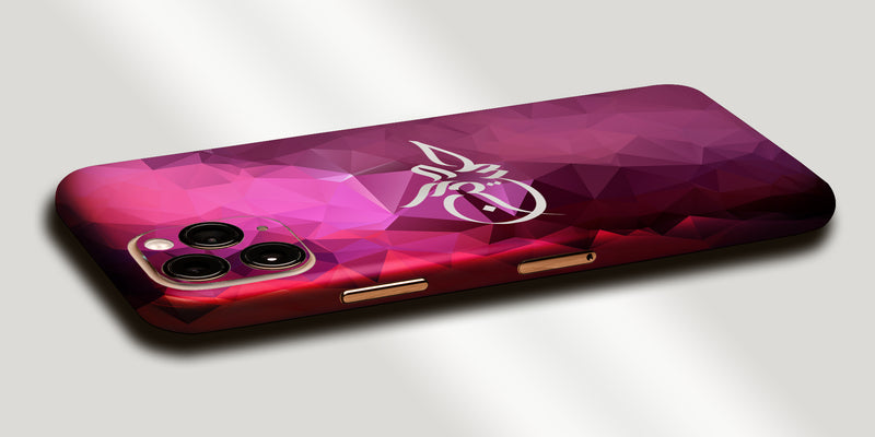 Geometric Design Decal Skin With Personalised Arabic Name Phone Wrap - Pink
