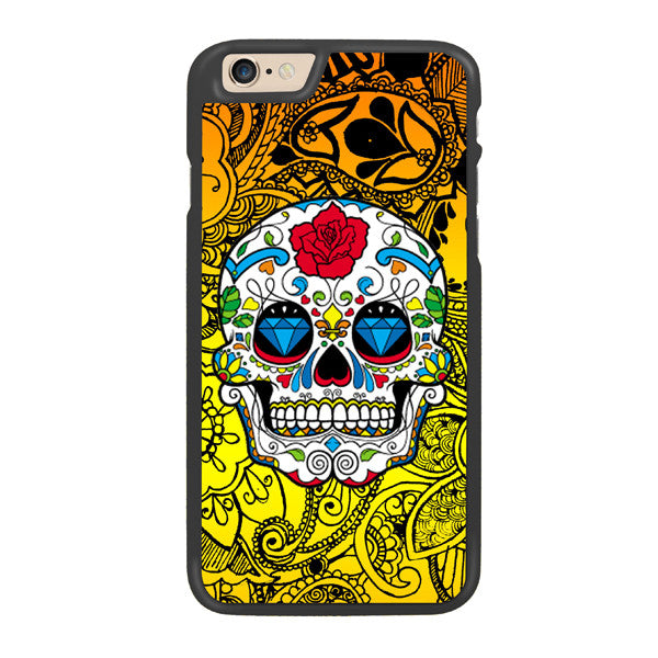 Candy Sugar Skulls Designer Hard Back Case by Simran - Yellow - Zing Cases