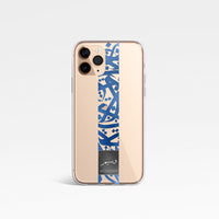 Metallic Blue Stripe Calligraphy by Zaman with Personalised Name Clear Phone Case