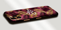 Gold and Pink Feather Decal Skin With Personalised Arabic Name Phone Wrap