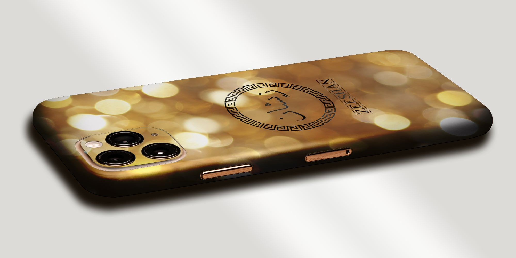 Gold Bokeh Decal Skin With Personalised Arabic Name Phone Wrap