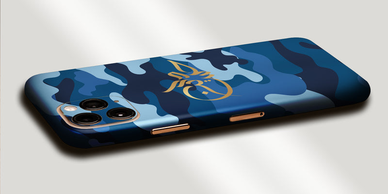 Camoflague Design Decal Skin With Personalised Arabic Name Phone Wrap - Blue