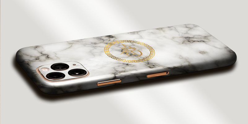 Marble Design Decal Skin With Personalised Arabic Name Phone Wrap - White with Gold Text
