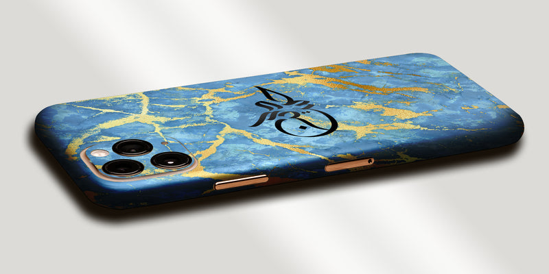 Marble Design Decal Skin With Personalised Arabic Name Phone Wrap - Blue / Gold