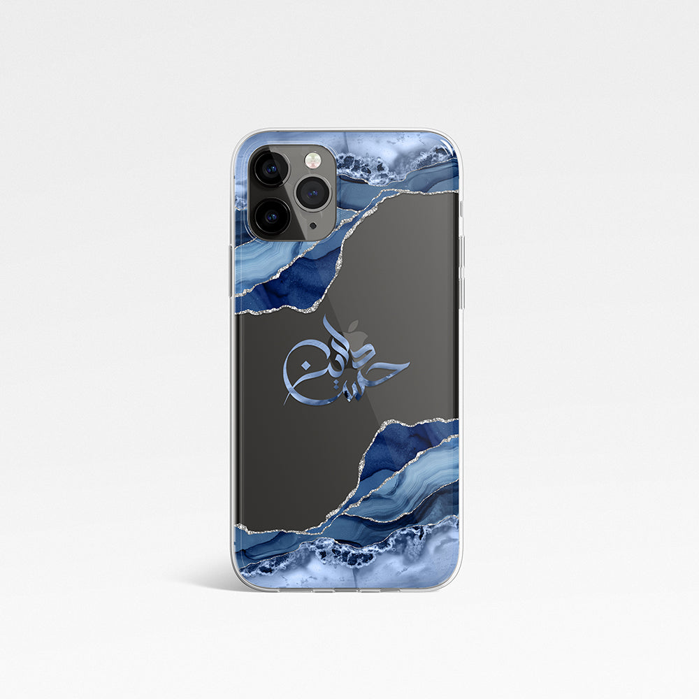Agate with Personalised Arabic Name Clear Phone Case - Blue