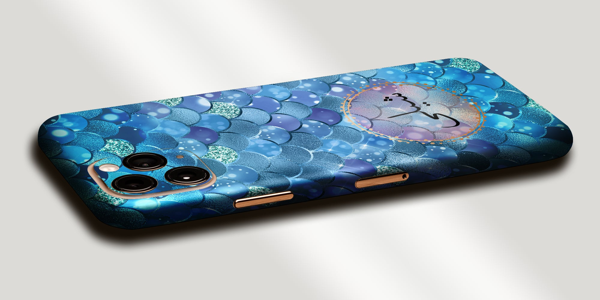 Blue Mermaid Decal Skin With Personalised Arabic Name Phone Wrap