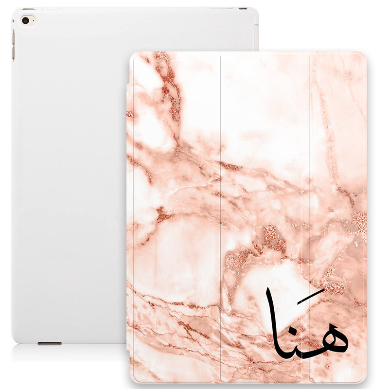 Marble Texture with Personalised Arabic Name Smart Case - Pink