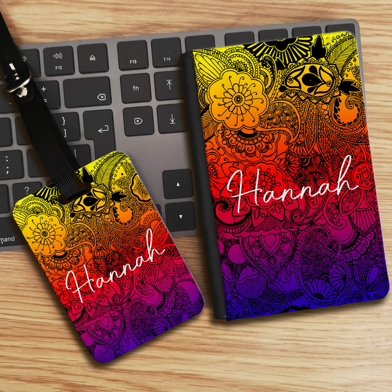 Summer Flowers Print by Simran with Personalised Name Luggage tag and Passport Cover Set