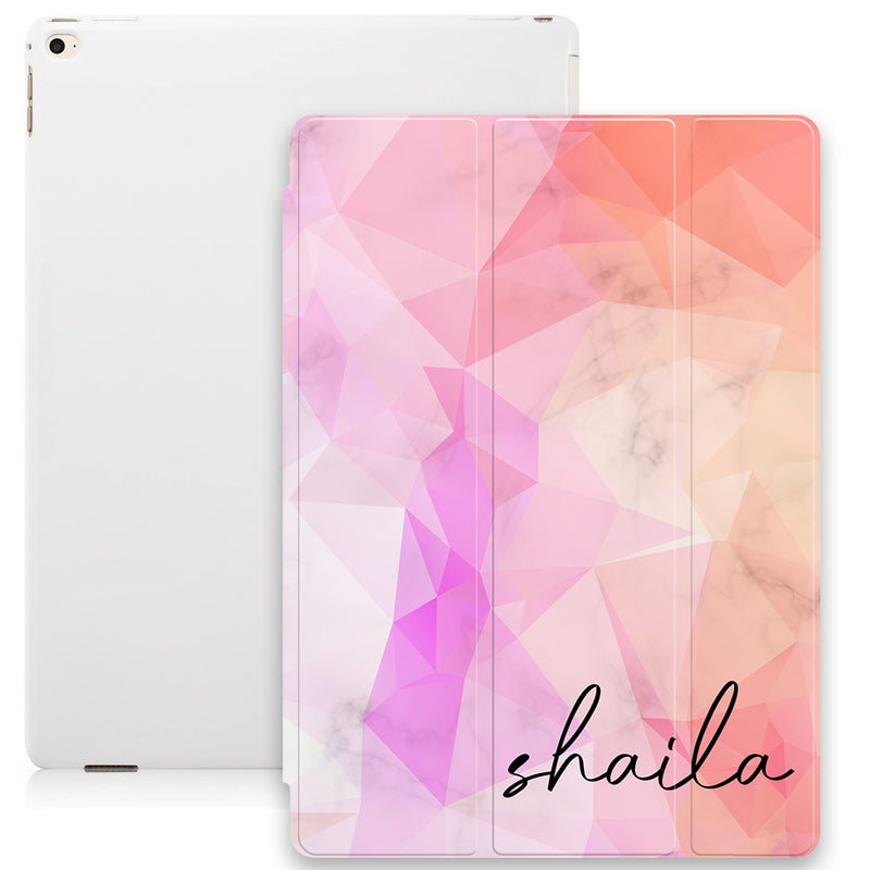 Marble Geometric Print with Personalised Name Smart Case