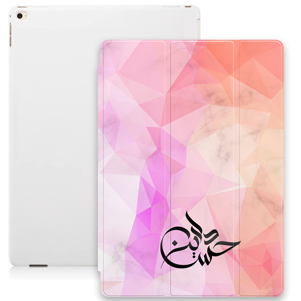 Marble Geometric Texture with Personalised Signature Calligraphy Arabic Name Smart Case