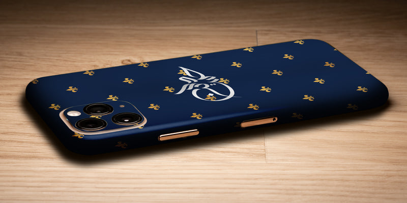 Fleur De Lis Design Decal Skin With Personalised Arabic Name Phone Wrap