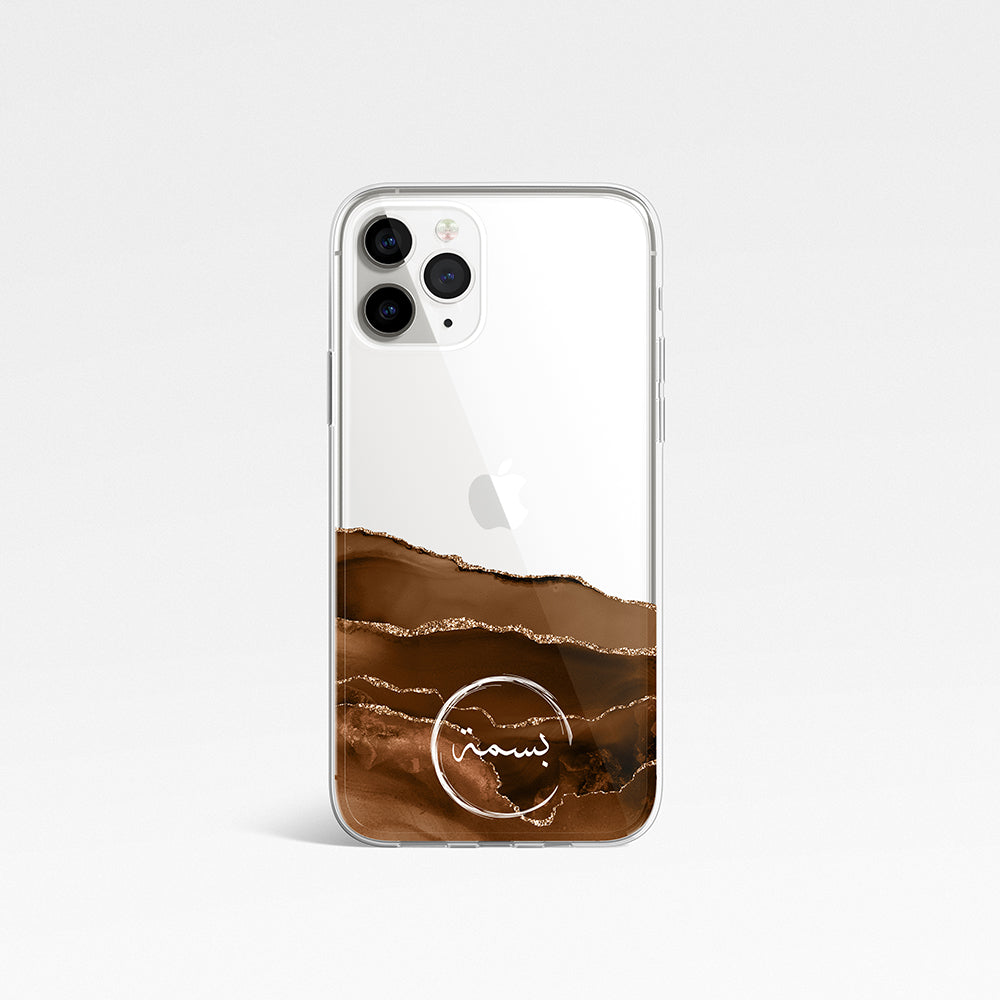 Agate with Personalised Name Clear Phone Case - Desert