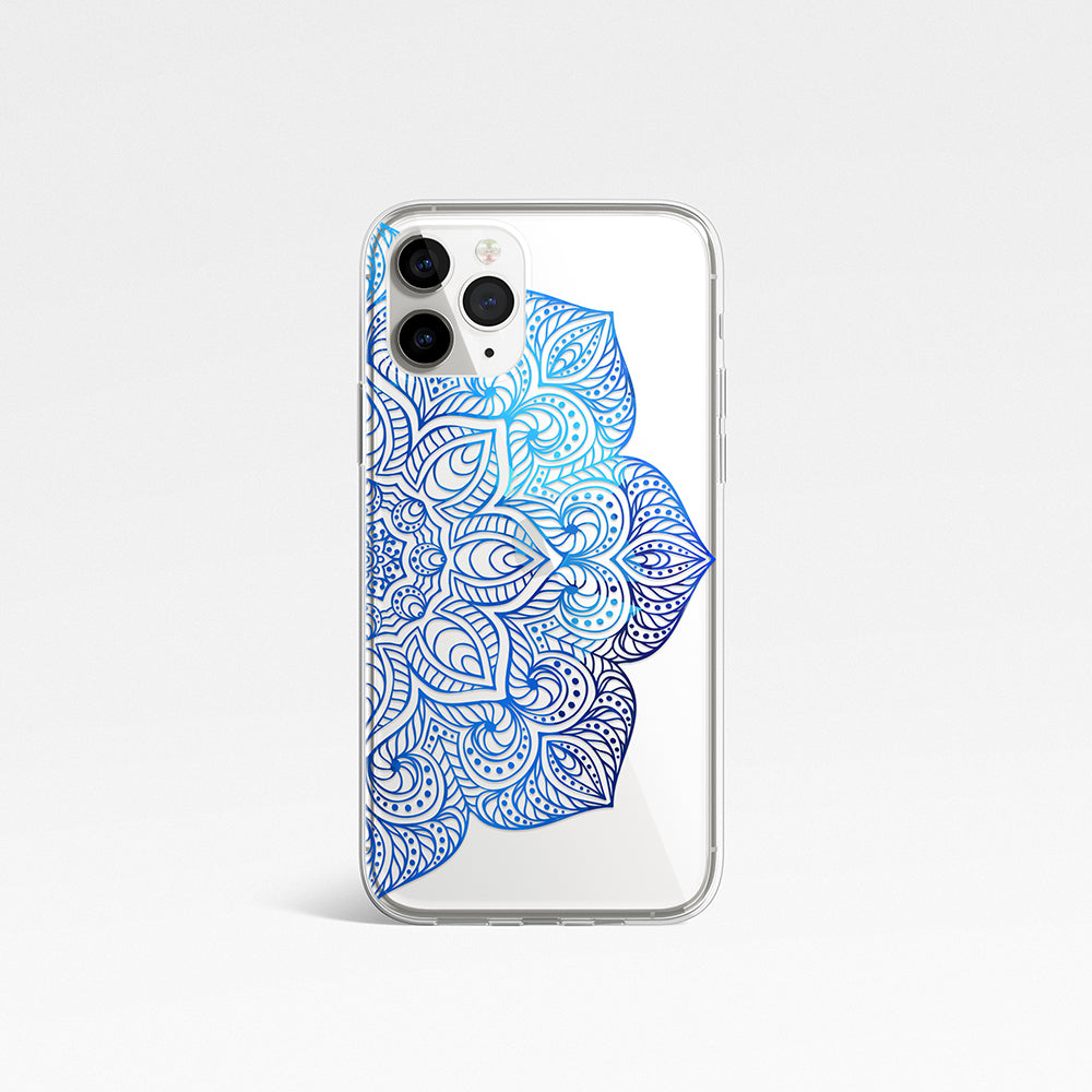 Blue Mandala Clear Phone Case