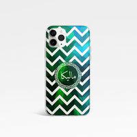 Geometric Chevron with Personalised Name Clear Phone Case - Green