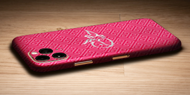 Greek Design Decal Skin With Personalised Arabic Name Phone Wrap - Pink