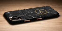 Marble Design Decal Skin With Personalised Arabic Name Phone Wrap - Black
