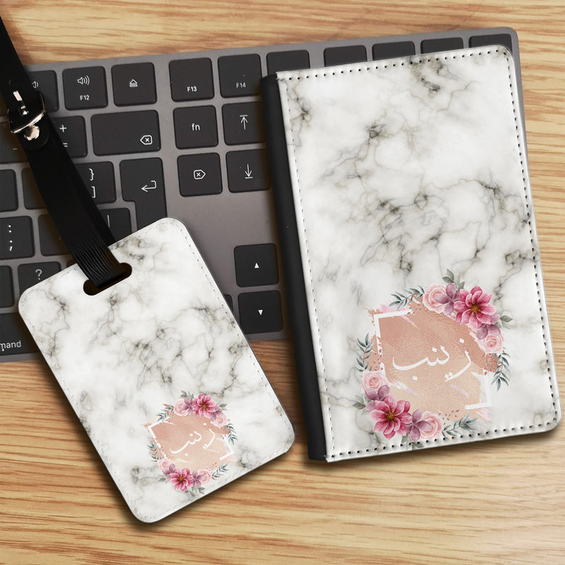 Marble Texture with Personalised Floral Arabic Name Luggage tag and Passport Cover Set - White
