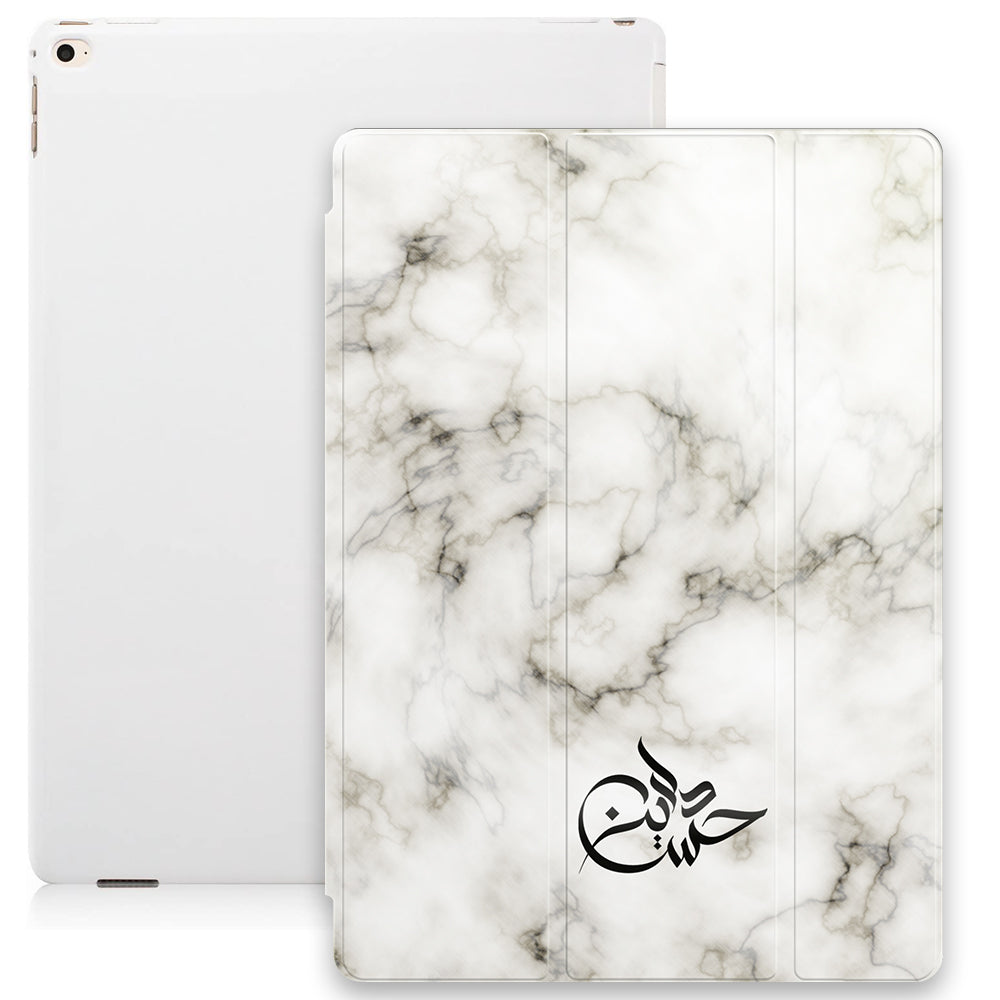 Marble Texture with Personalised Signature Calligraphy Arabic Name Smart Case - White