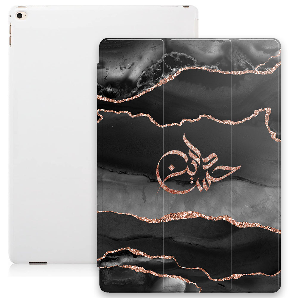 Agate Print with Personalised Signature Calligraphy Arabic Name Smart Case - Rose Gold