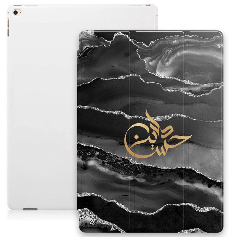 Agate Print with Personalised Signature Calligraphy Arabic Name Smart Case - Silver