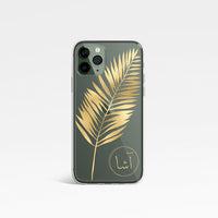 Leaf Print with Personalised Arabic Name Clear Phone Case - Gold