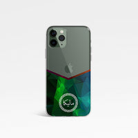Geometric Chevron V Shape with Personalised Name Clear Phone Case - Green