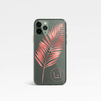 Leaf Print with Personalised Arabic Name Clear Phone Case - Rose Gold