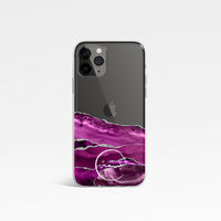 Agate with Personalised Name Clear Phone Case - Pink Half View