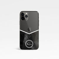 Geometric Chevron V Shape with Personalised Name Clear Phone Case - Black