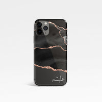 Agate Design with Personalised Arabic Name Clear Phone Case - Black and Rose Gold