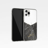 Black Marble with Personalised Arabic Name Clear Phone Case