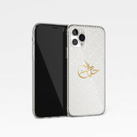 Greek Print with Personalised Arabic Signature Calligraphy Clear Phone Case - White